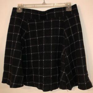 H&M Black & White Checkered Knit Skater Skirt